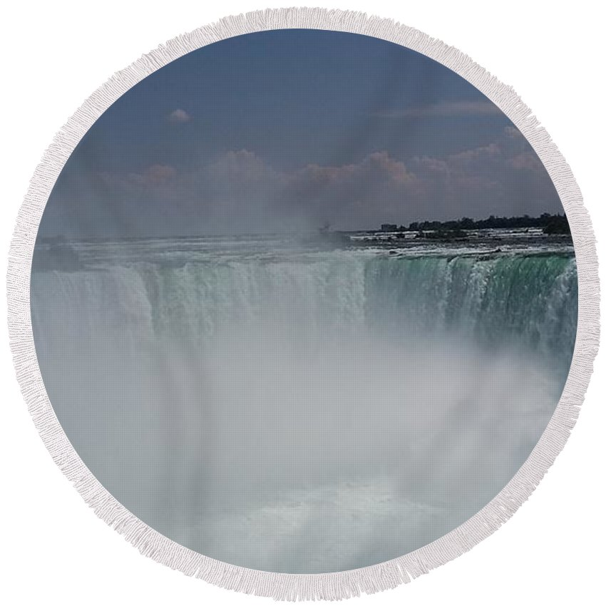 Water Round Beach Towel featuring the photograph Niagara Falls by Pics by Jody Adams