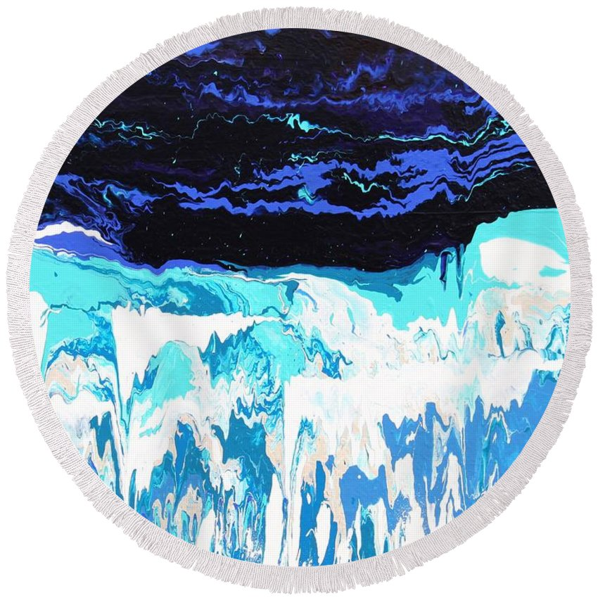 Fusionart Round Beach Towel featuring the painting Niagara by Ralph White