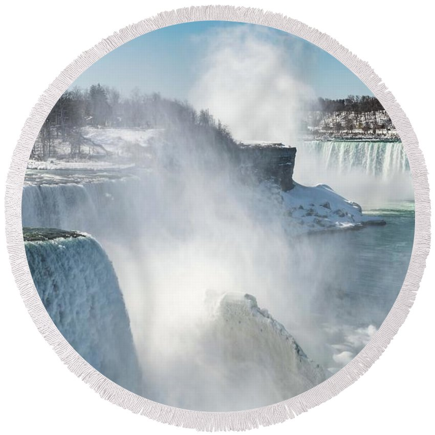 Usa Round Beach Towel featuring the photograph Niagara Up Close by Framing Places