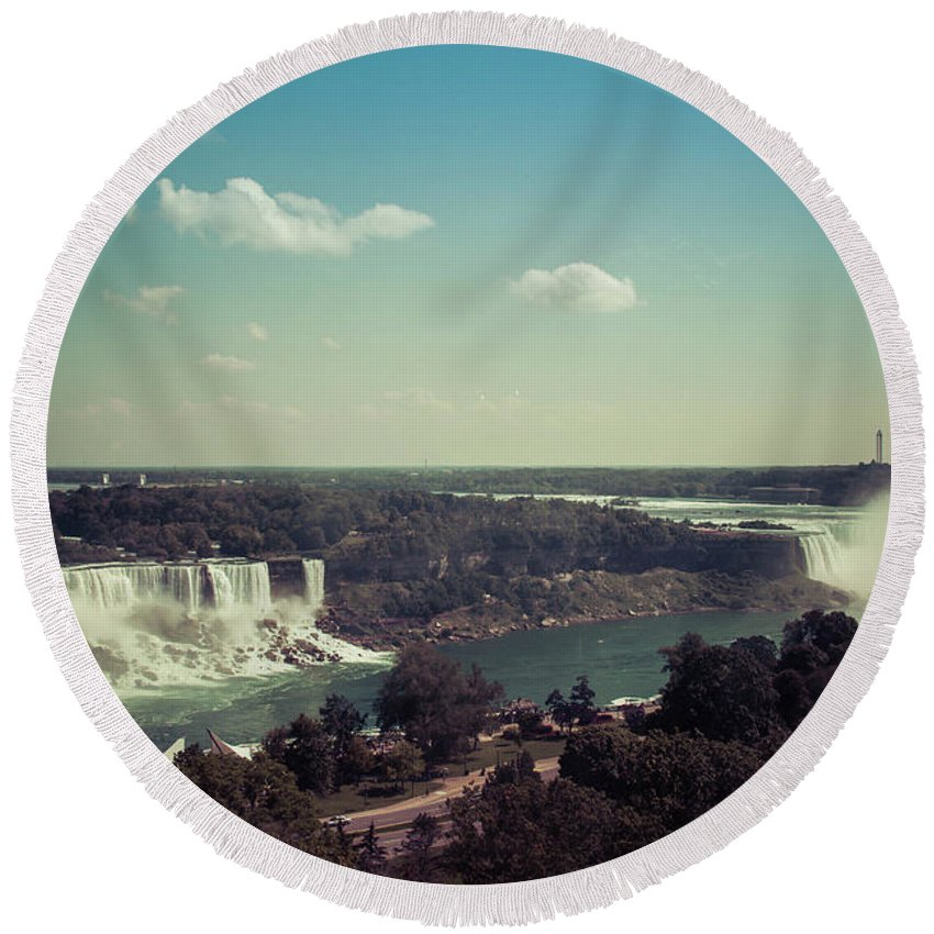 Water Round Beach Towel featuring the photograph Niagra Falls by Kaylee Killian