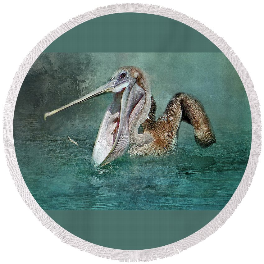 Brown Pelican Round Beach Towel featuring the photograph Nice Catch by HH Photography of Florida