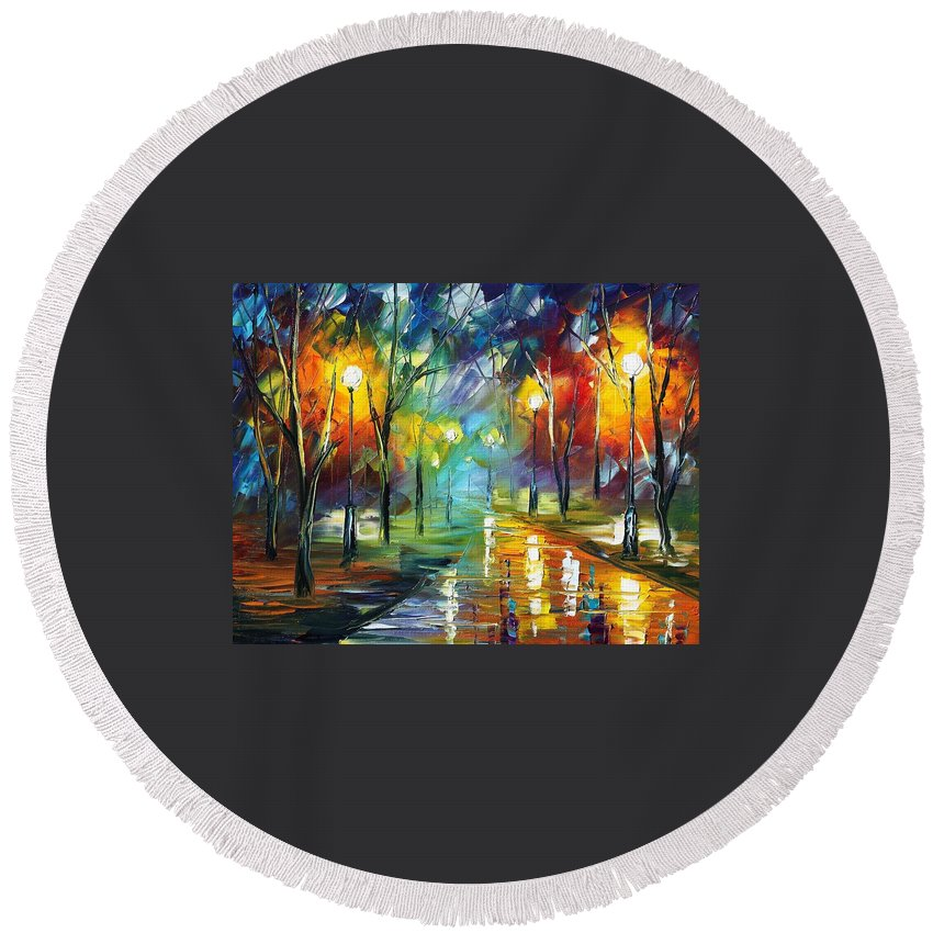Afremov Round Beach Towel featuring the painting Nice Park by Leonid Afremov