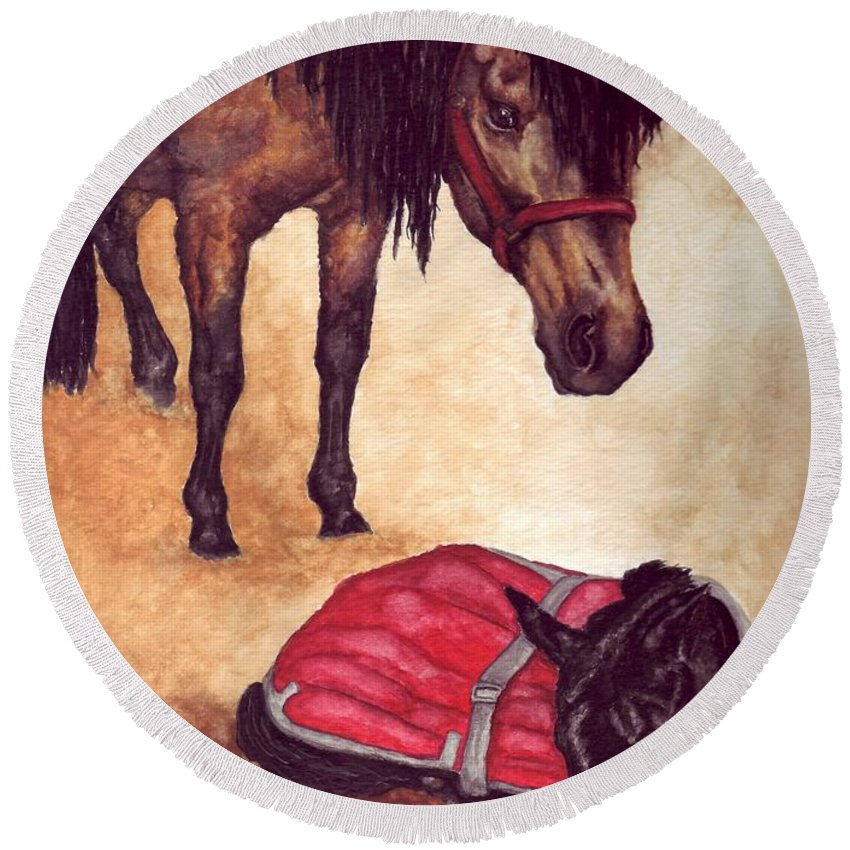 Horse Round Beach Towel featuring the painting Nifty And Hannah by Kristen Wesch