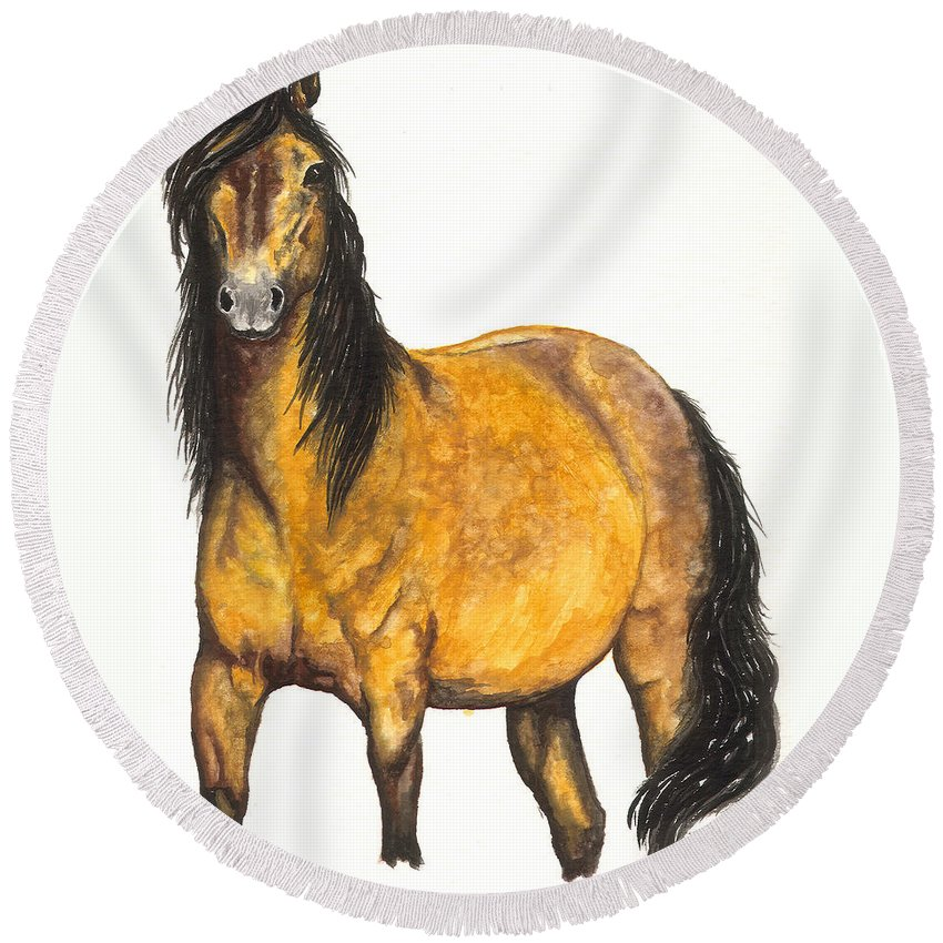 Horse Round Beach Towel featuring the painting Nifty by Kristen Wesch