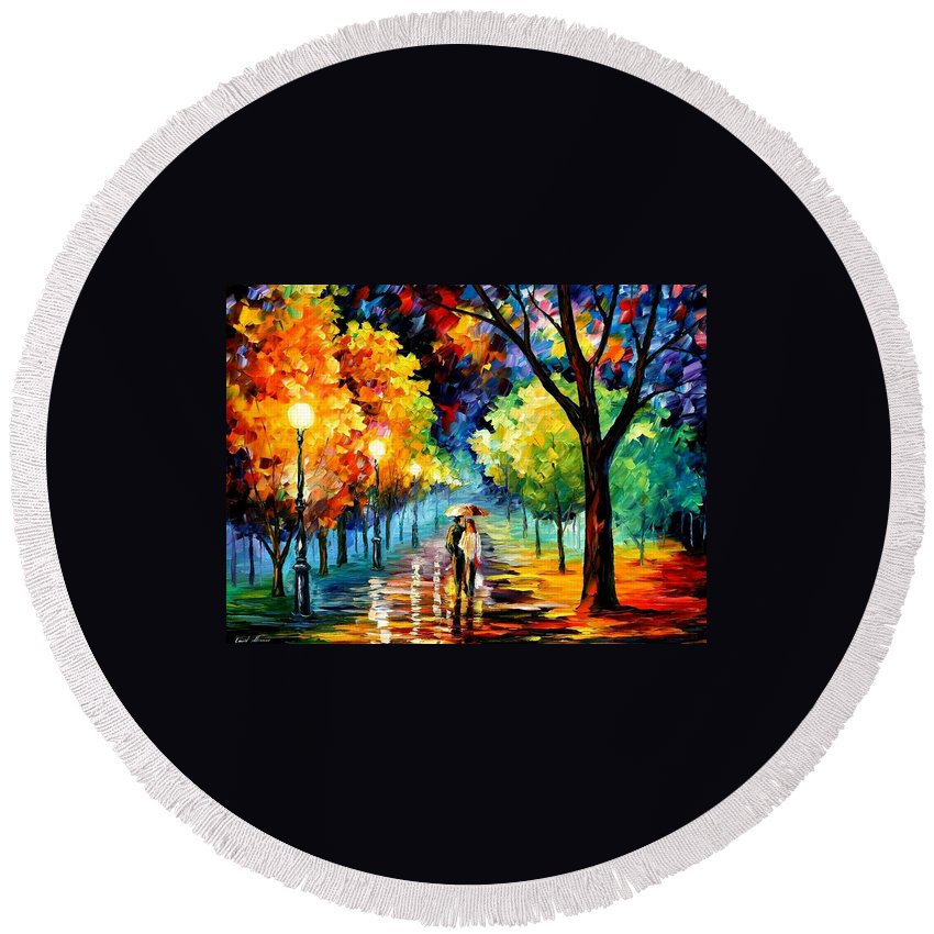 Afremov Round Beach Towel featuring the painting Night Alley by Leonid Afremov