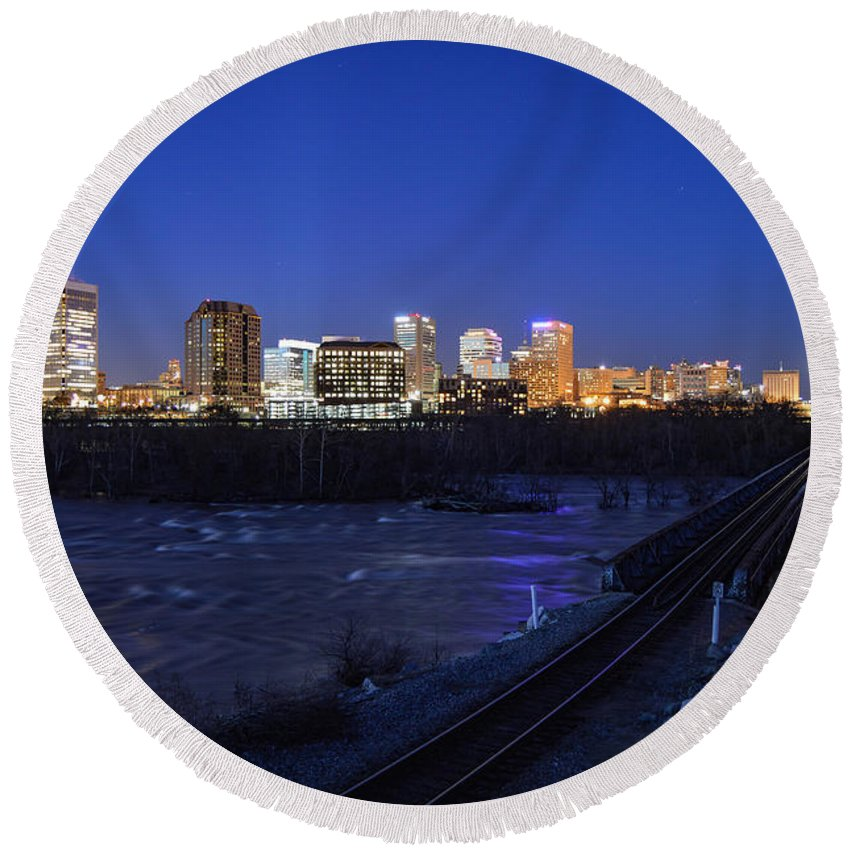Richmond Round Beach Towel featuring the photograph Night At The Floodwall 2 by Aaron Dishner