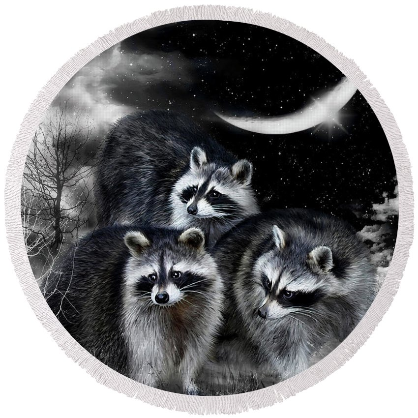 Raccoon Round Beach Towel featuring the mixed media Night Bandits by Carol Cavalaris