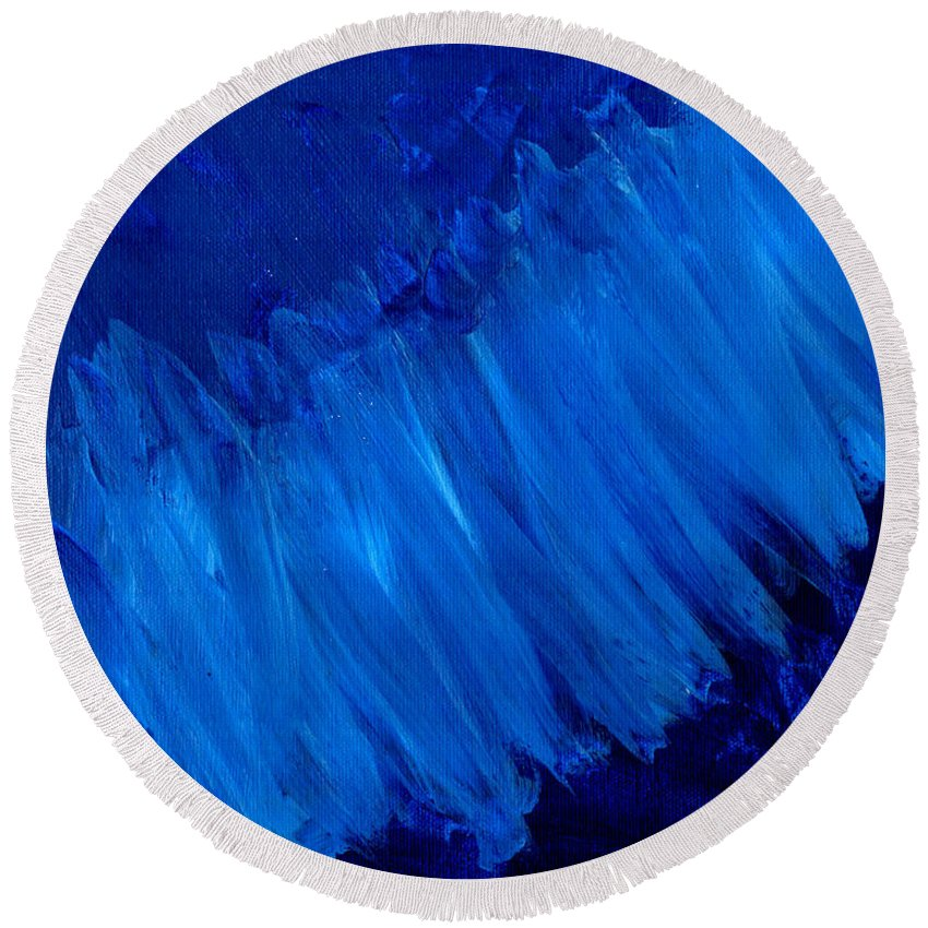 Art & Collectibles Round Beach Towel featuring the painting Night Blues by Sindy Original