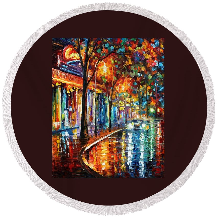 Afremov Round Beach Towel featuring the painting Night Cafe by Leonid Afremov