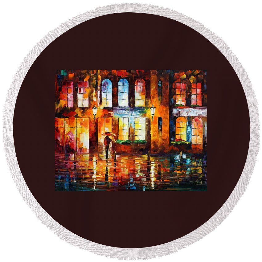 Afremov Round Beach Towel featuring the painting Night City by Leonid Afremov