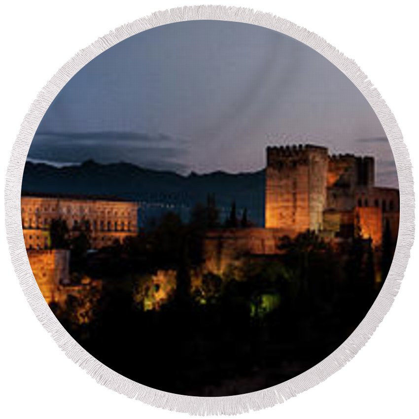 Alhambra Round Beach Towel featuring the photograph Night Comes To The Alhambra by Weston Westmoreland