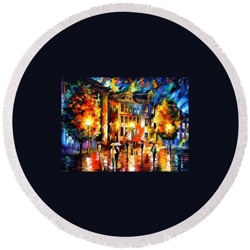 Afremov Round Beach Towel featuring the painting Night Enigma by Leonid Afremov