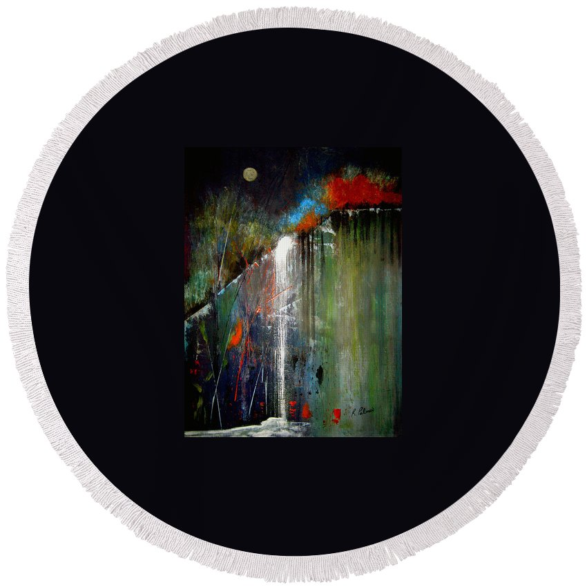 Abstract Round Beach Towel featuring the painting Night Falls by Ruth Palmer