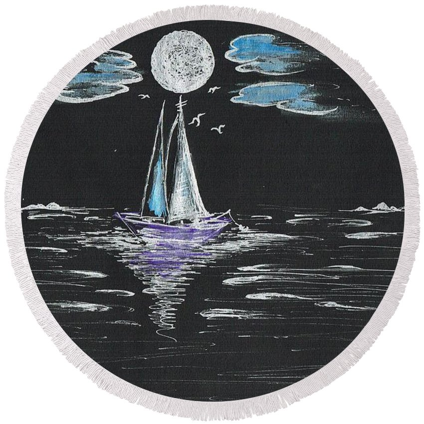 Teresa White Round Beach Towel featuring the drawing Night Fishing by Teresa White