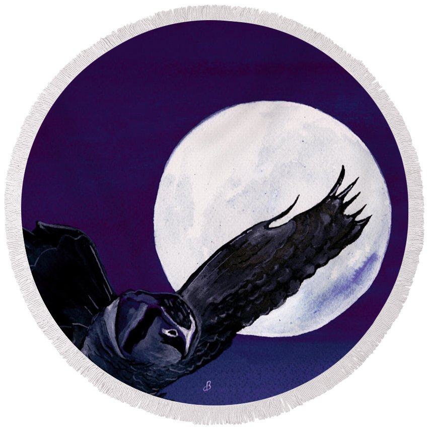 Landscape Round Beach Towel featuring the painting Night Flight by Brenda Owen