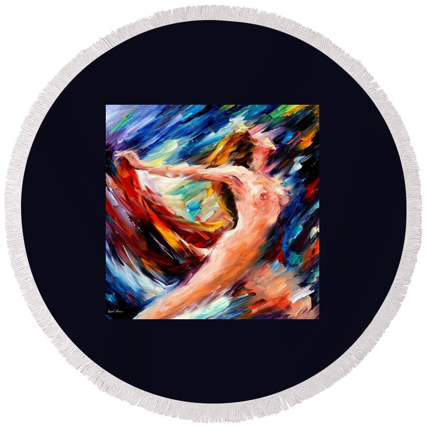 Nude Round Beach Towel featuring the painting Night Flight by Leonid Afremov