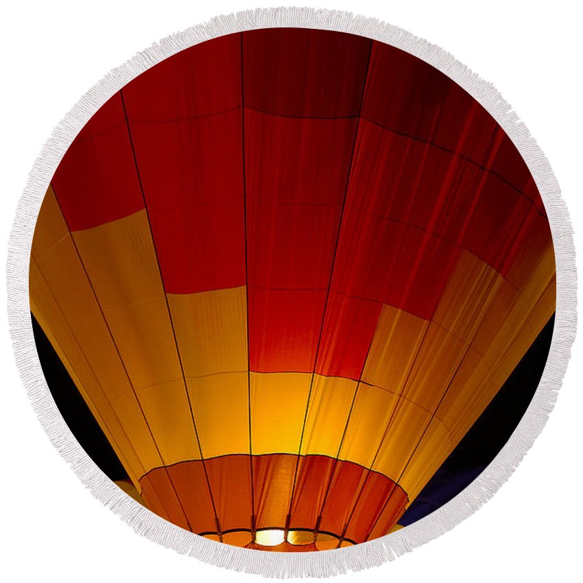 Balloon Round Beach Towel featuring the photograph Night Flight by Mike Dawson