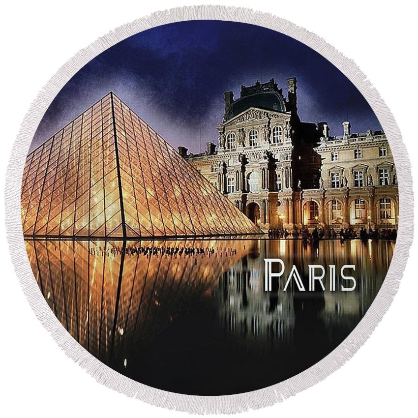 Paris Round Beach Towel featuring the painting Night Glow Of The Louvre Museum In Paris Text Paris by Elaine Plesser