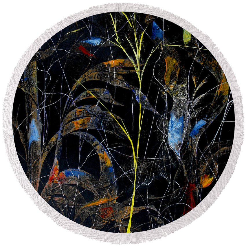 Abstract Round Beach Towel featuring the painting Night Life by Ruth Palmer