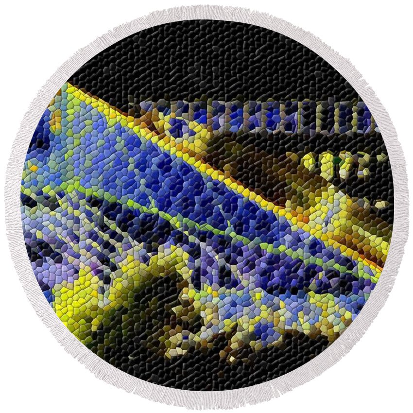 Seattle Round Beach Towel featuring the photograph Night Lights by Tim Allen