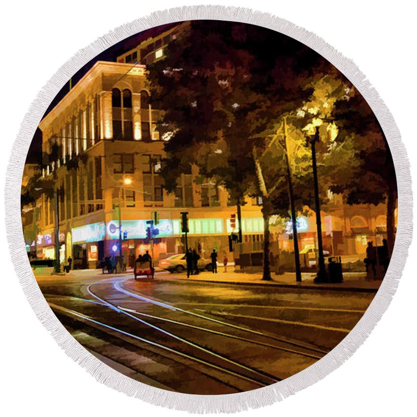Architecture Round Beach Towel featuring the photograph Night Moods San Jose Ca by Chuck Kuhn