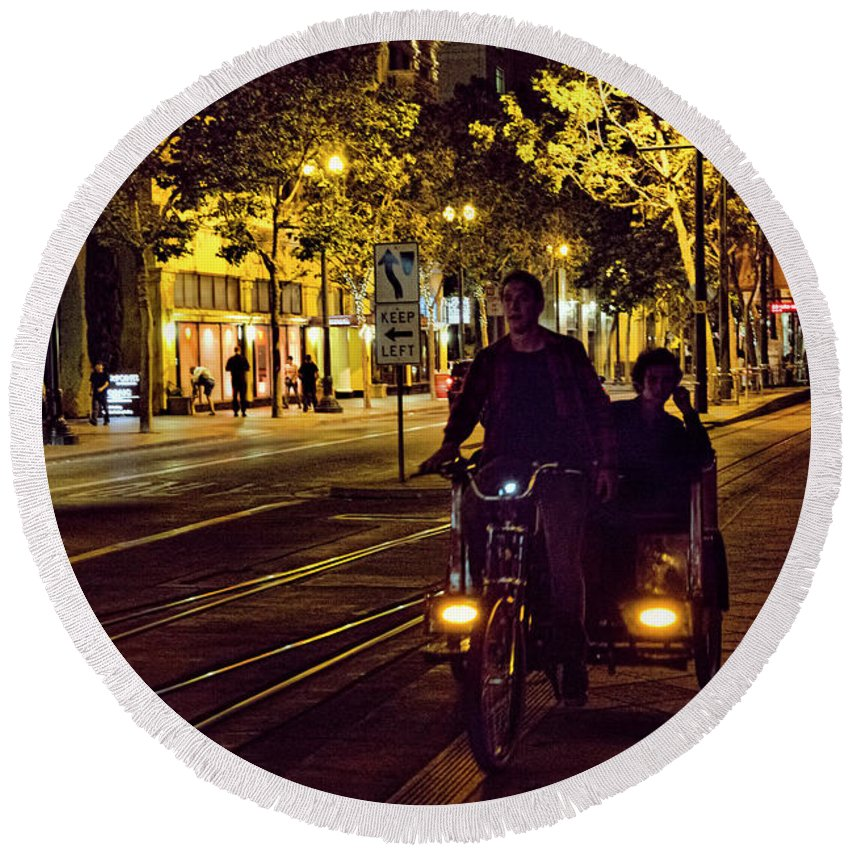 Architecture Round Beach Towel featuring the photograph Night Moods Streets Of San Jose  by Chuck Kuhn