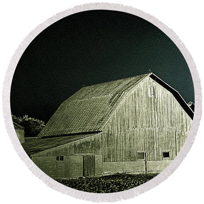 Round Beach Towel featuring the photograph Night On The Farm by Jenny Gandert