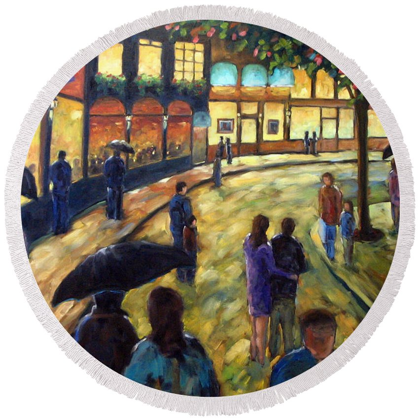 Cityscape Round Beach Towel featuring the painting Night On The Town by Richard T Pranke