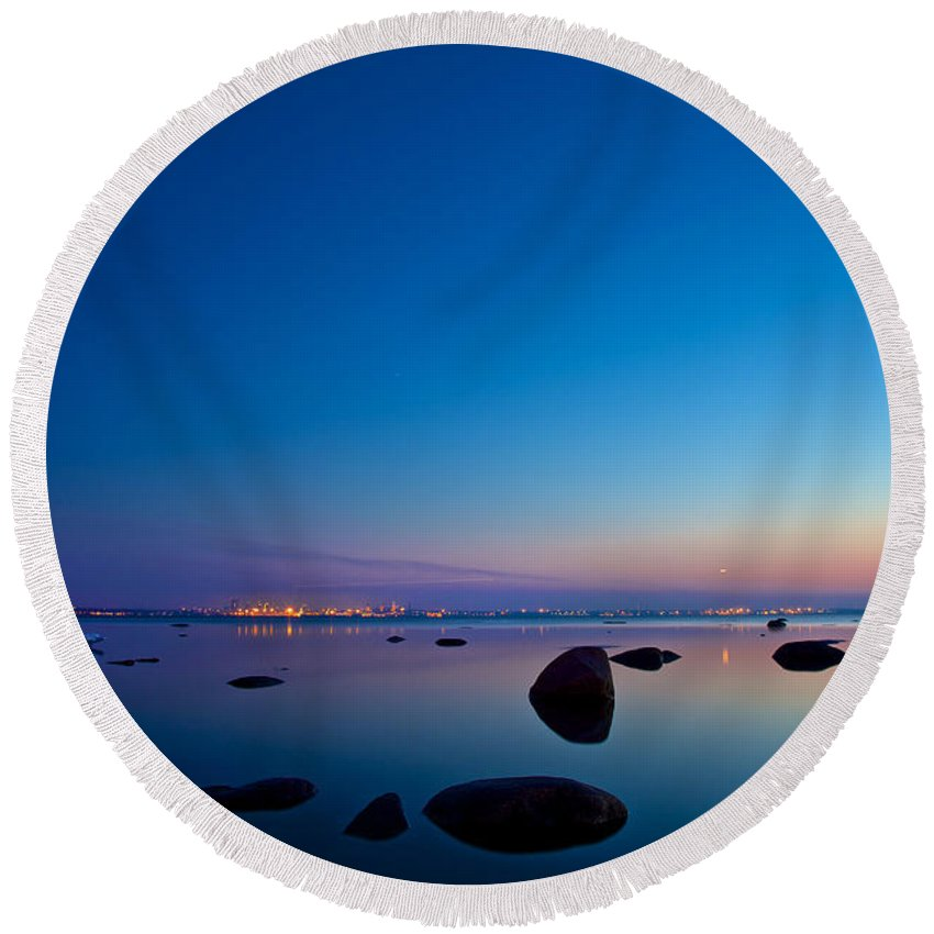 Blue Round Beach Towel featuring the photograph Night Reflections Sea Scape After Sunset by Sandra Rugina