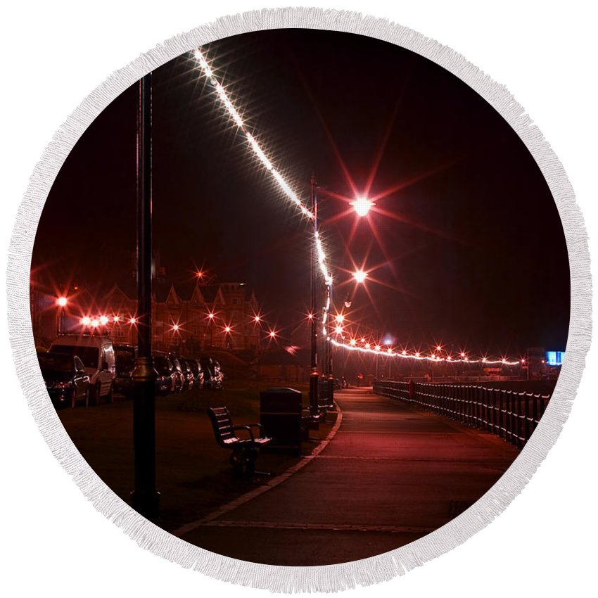 Night Round Beach Towel featuring the photograph Night Road by Svetlana Sewell