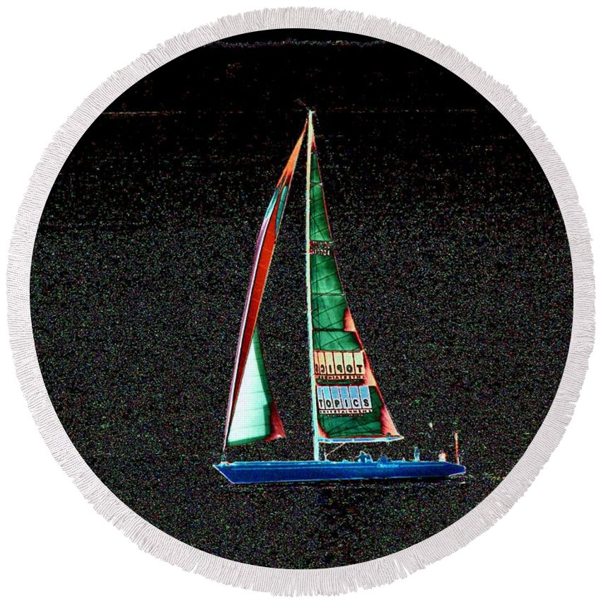 Seattle Round Beach Towel featuring the photograph Night Sail 2 by Tim Allen