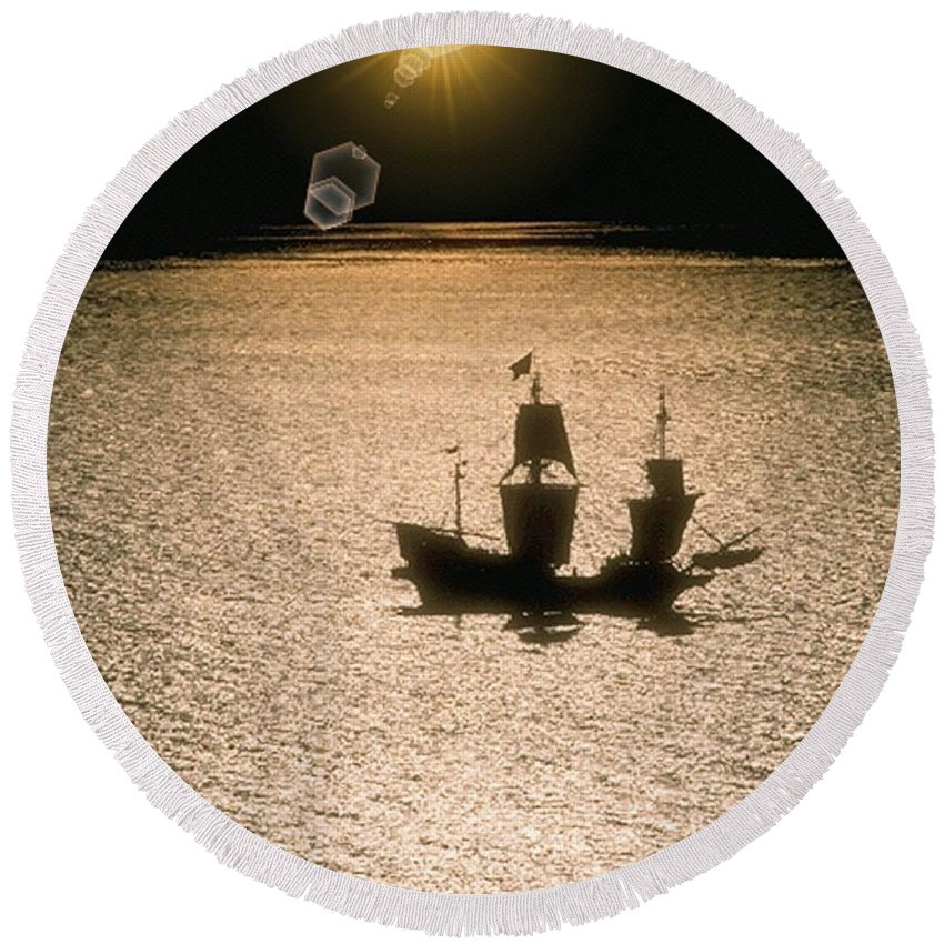 Sail Round Beach Towel featuring the photograph Night Sail by Tim Allen