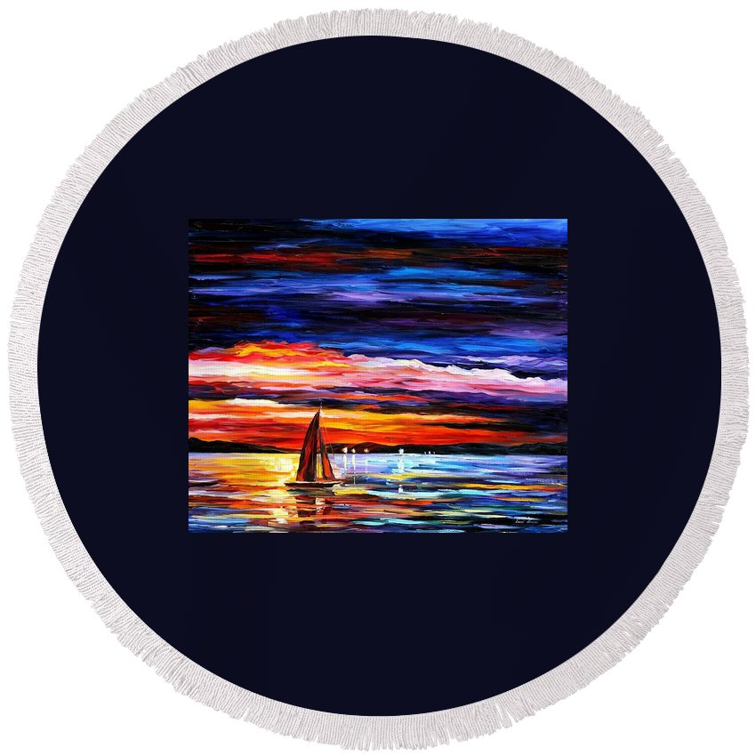 Seascape Round Beach Towel featuring the painting Night Sea by Leonid Afremov