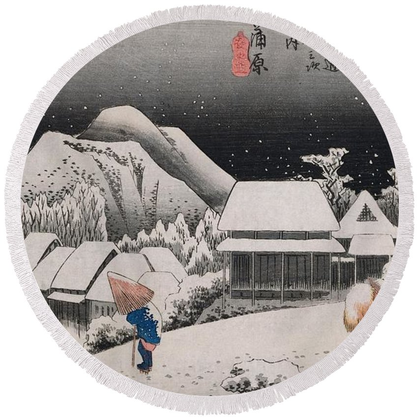 Night Snow Round Beach Towel featuring the painting Night Snow by Hiroshige