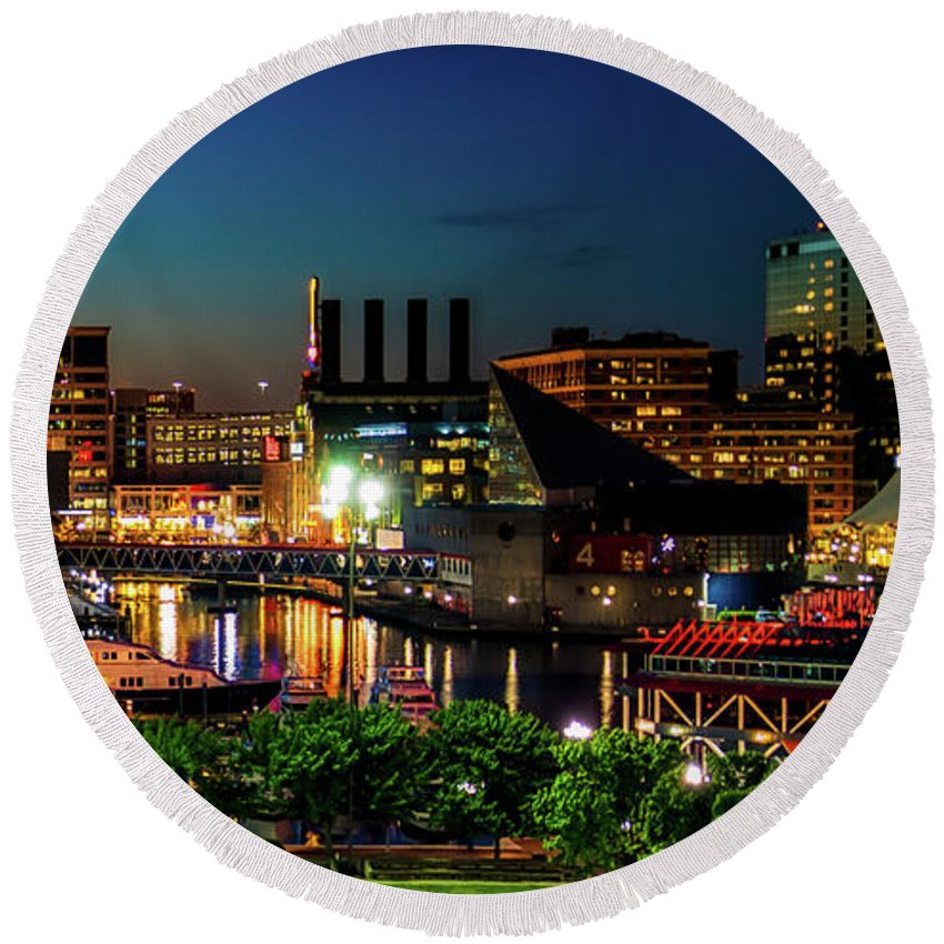 Baltimore Round Beach Towel featuring the photograph Night View Inner Harbor by Carol Ward