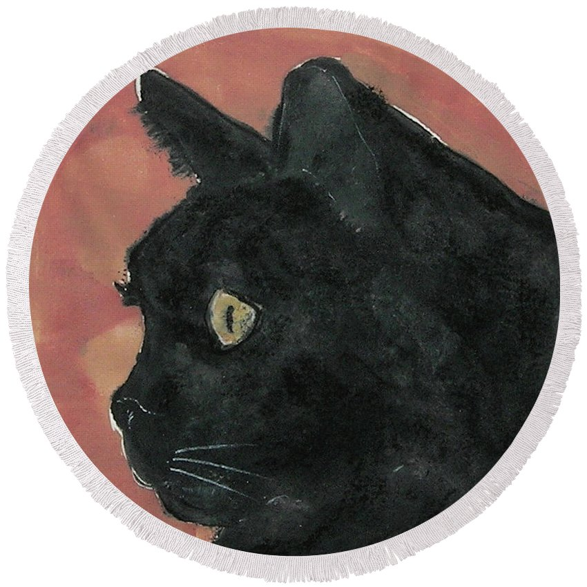 Cat Round Beach Towel featuring the mixed media Night Vision by Cori Solomon