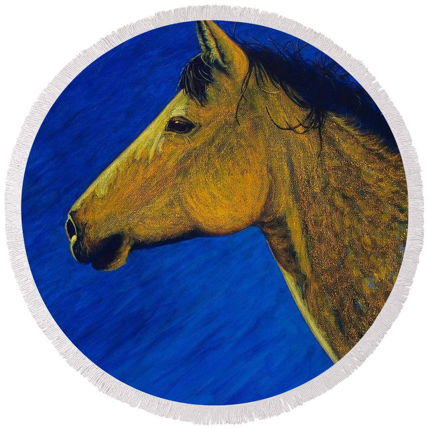 Cynthia Sampson Round Beach Towel featuring the painting Night Wind by Cynthia Sampson
