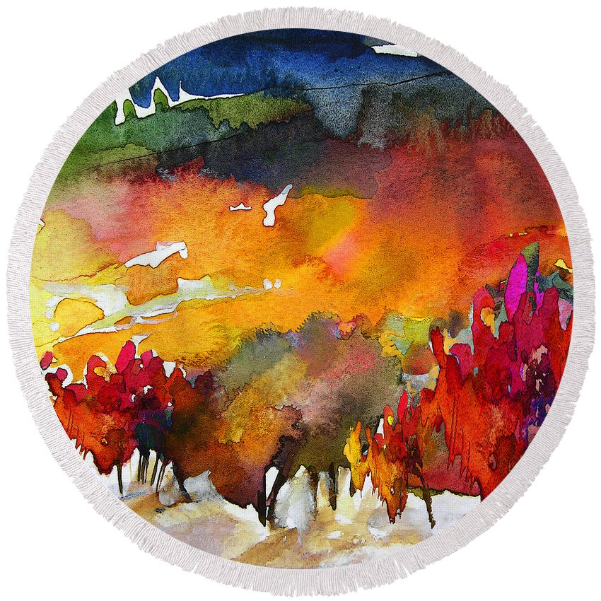 Watercolour Round Beach Towel featuring the painting Nightfall 06 by Miki De Goodaboom