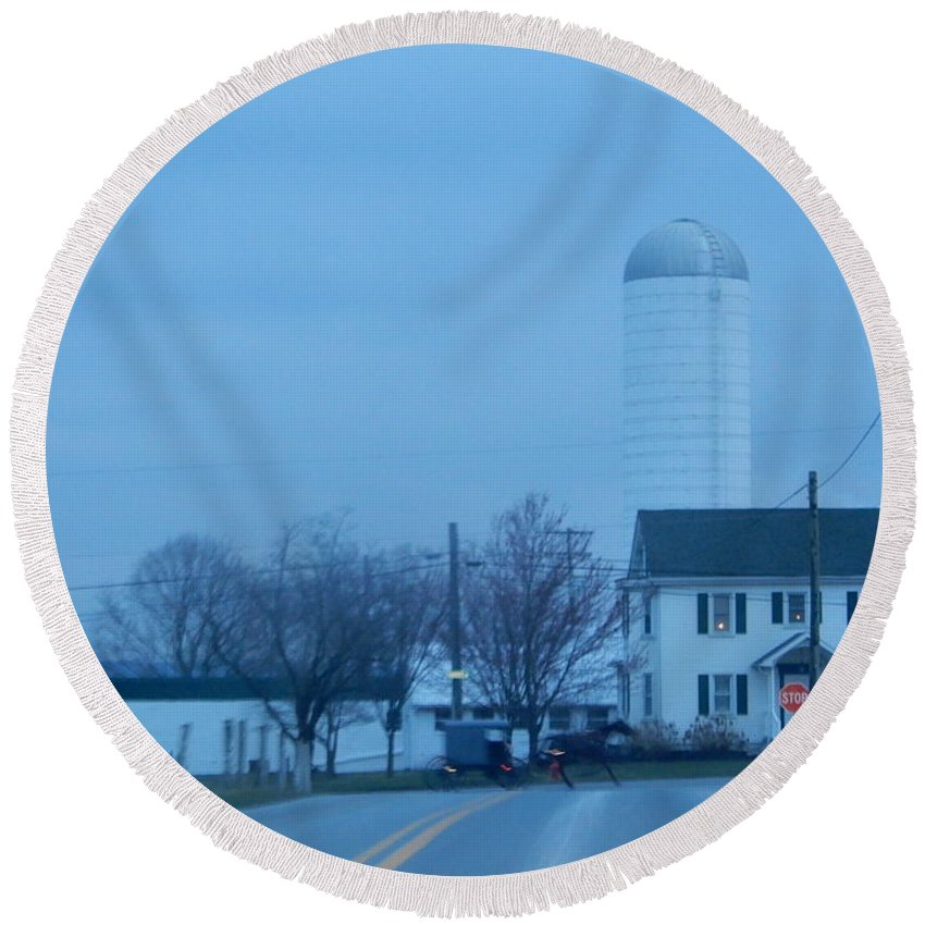 Amish Round Beach Towel featuring the photograph Nightfall by Christine Clark