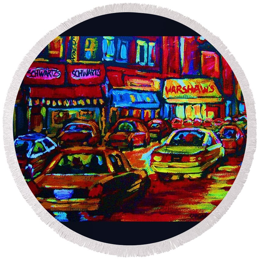 Schwartzs And Warshaws Round Beach Towel featuring the painting Nightlights On Main Street by Carole Spandau