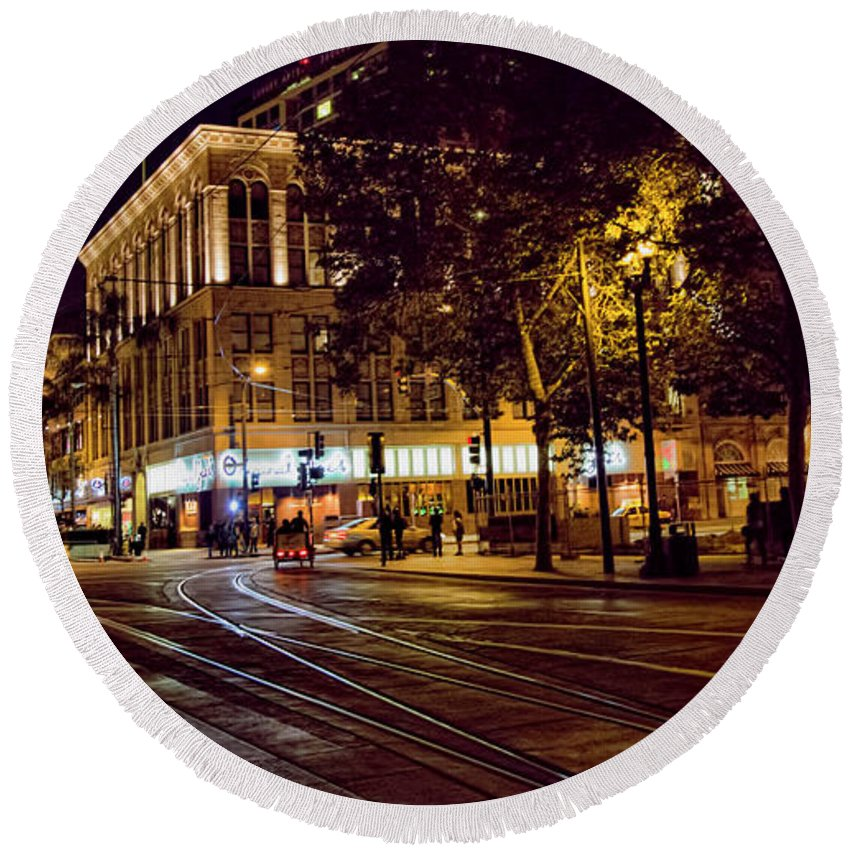 Architecture Round Beach Towel featuring the photograph Nights, Lights Downtown Sj by Chuck Kuhn