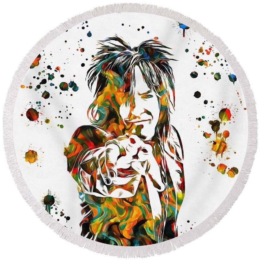 Nikki Sixx Paint Splatter Round Beach Towel featuring the painting Nikki Sixx Paint Splatter by Dan Sproul