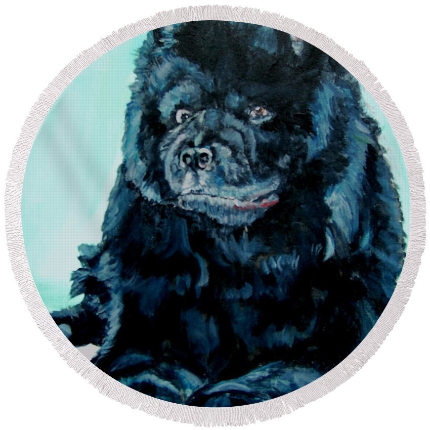 Dog Round Beach Towel featuring the painting Nikki The Chow by Bryan Bustard