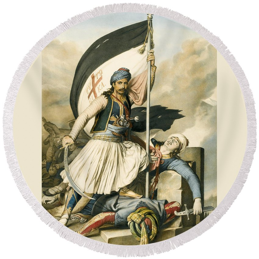 Louis Dupre Round Beach Towel featuring the drawing Nikolakis Mitropoulos Raises The Flag With The Cross At Salona On Easter Day 1821 by Louis Dupre