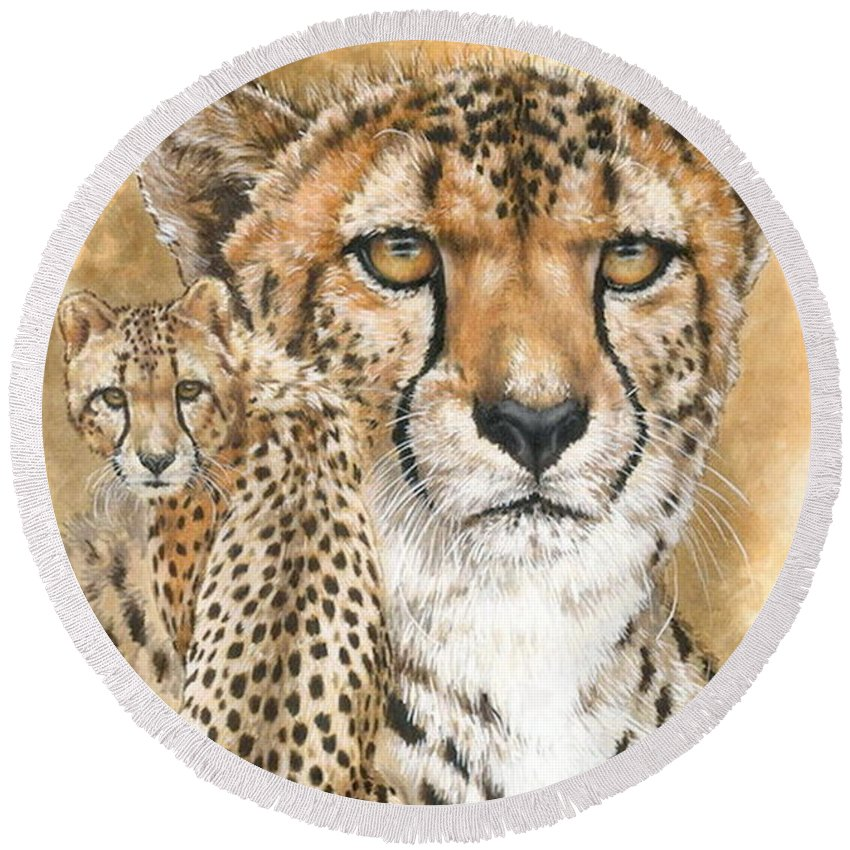 Cheetah Round Beach Towel featuring the mixed media Nimble by Barbara Keith
