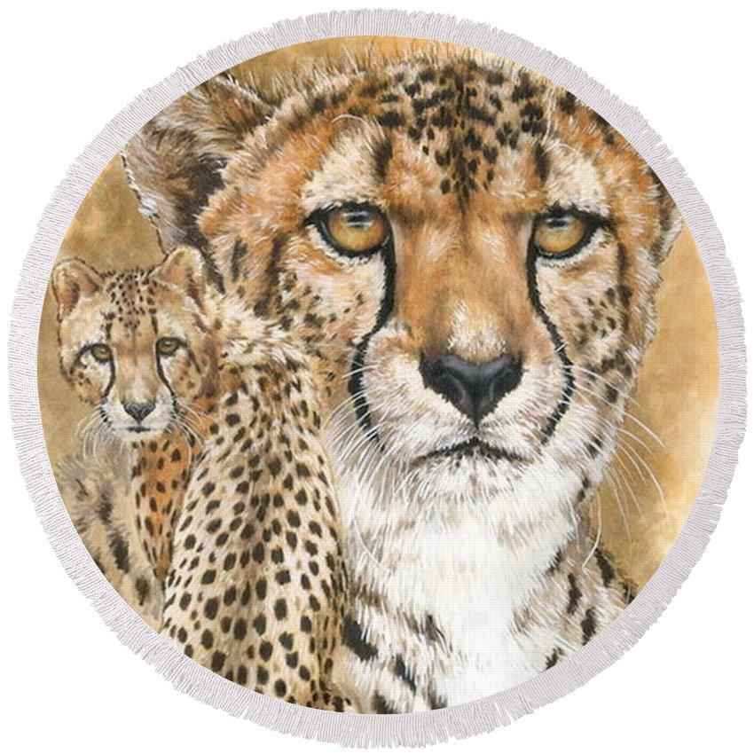 Cheetah Round Beach Towel featuring the mixed media Nimble by Barbara Keith