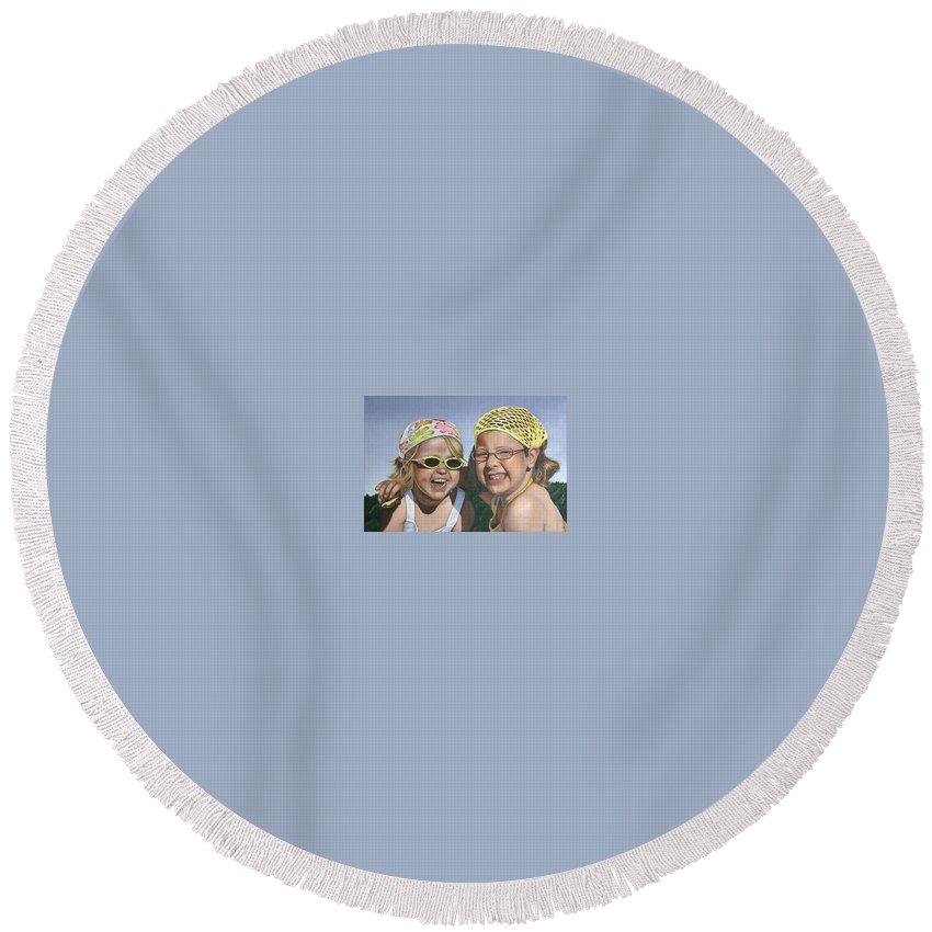 Portrait Round Beach Towel featuring the painting Nina And Francis by Rob De Vries