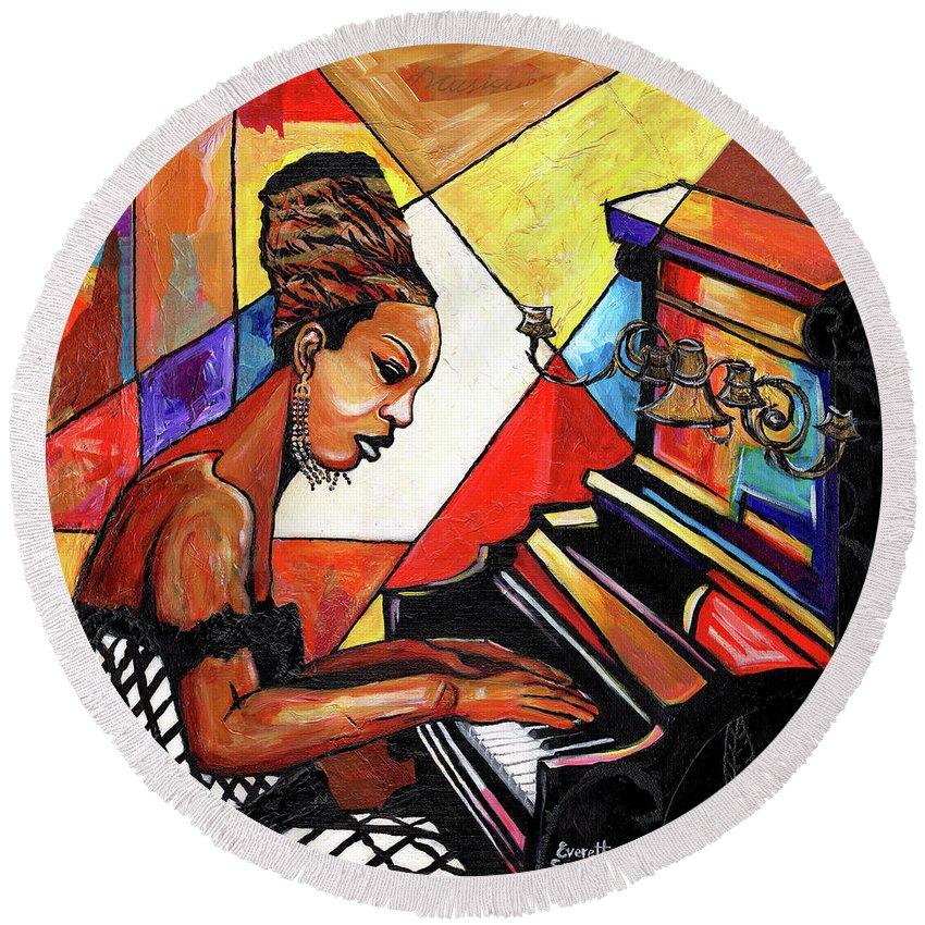 Everett Spruill Round Beach Towel featuring the mixed media Nina Simone by Everett Spruill