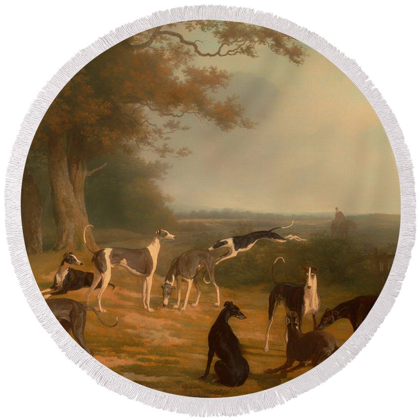 Painting Round Beach Towel featuring the painting Nine Greyhounds In A Landscape by Mountain Dreams