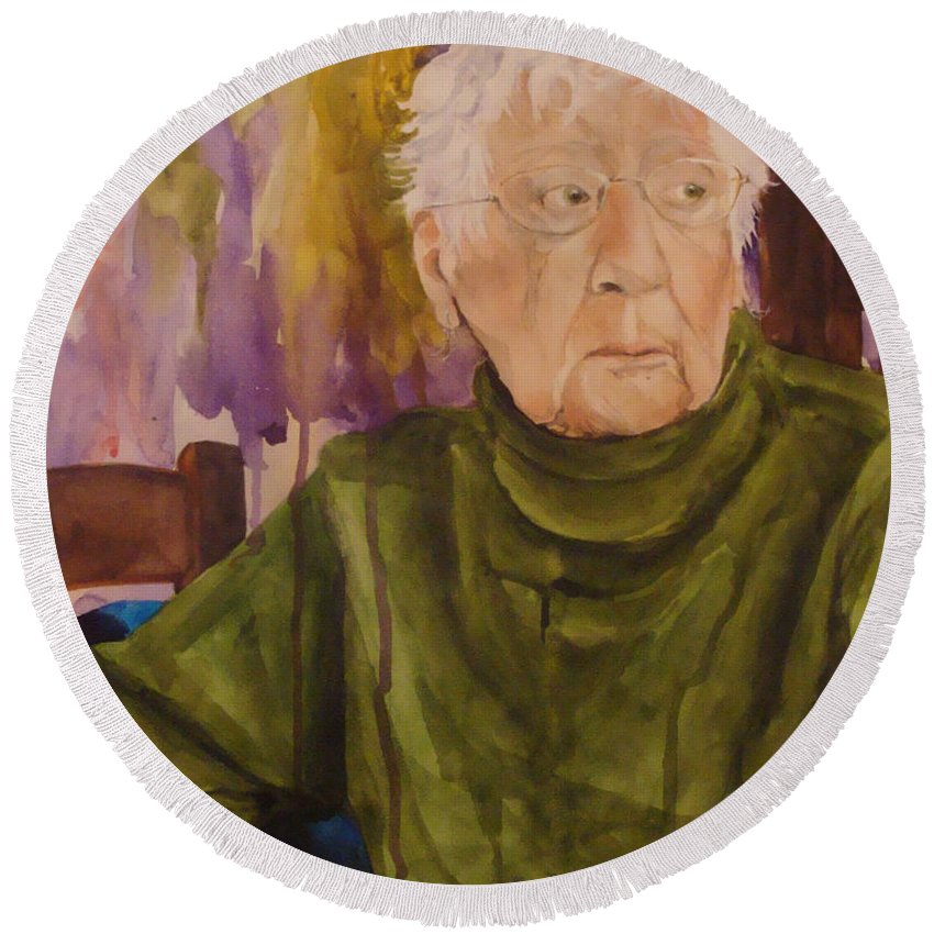 Portrait Round Beach Towel featuring the painting Ninety Years Young by Jean Blackmer
